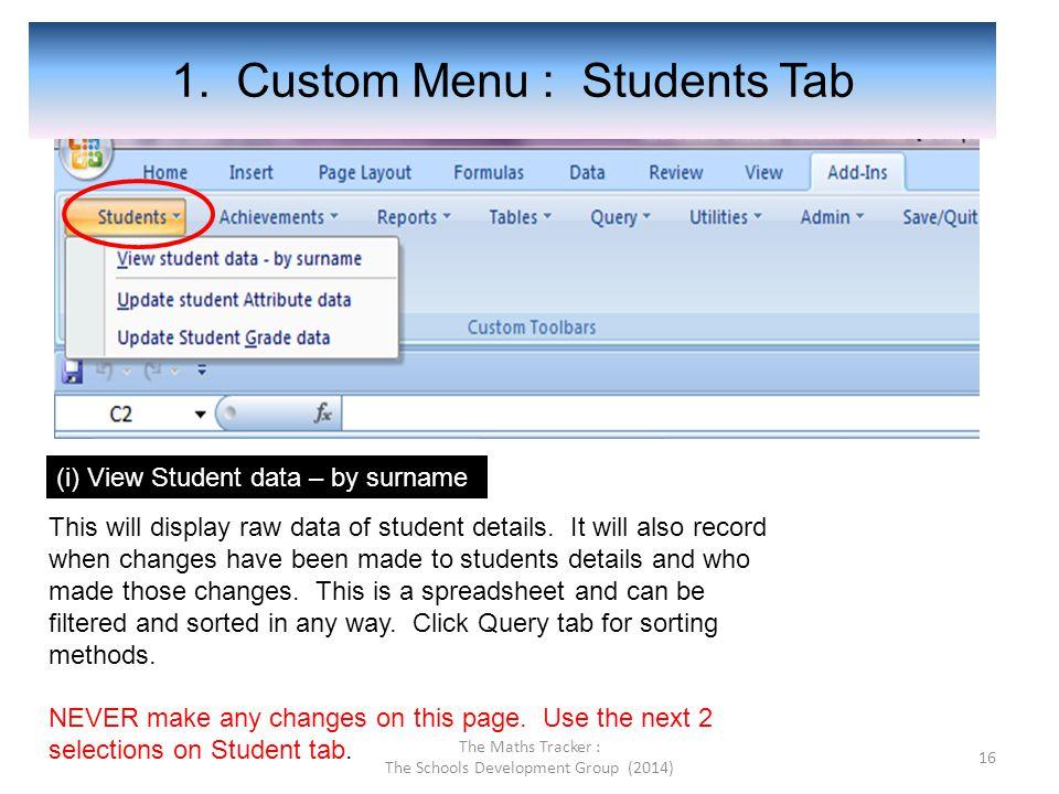 1. Custom Menu : Students Tab