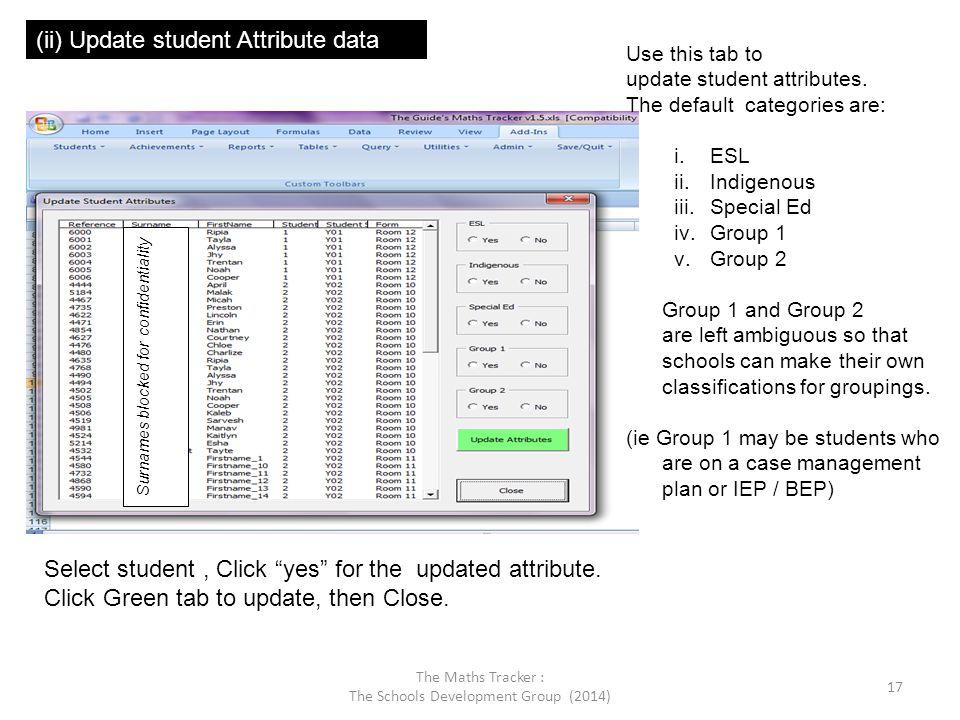 (ii) Update student Attribute data