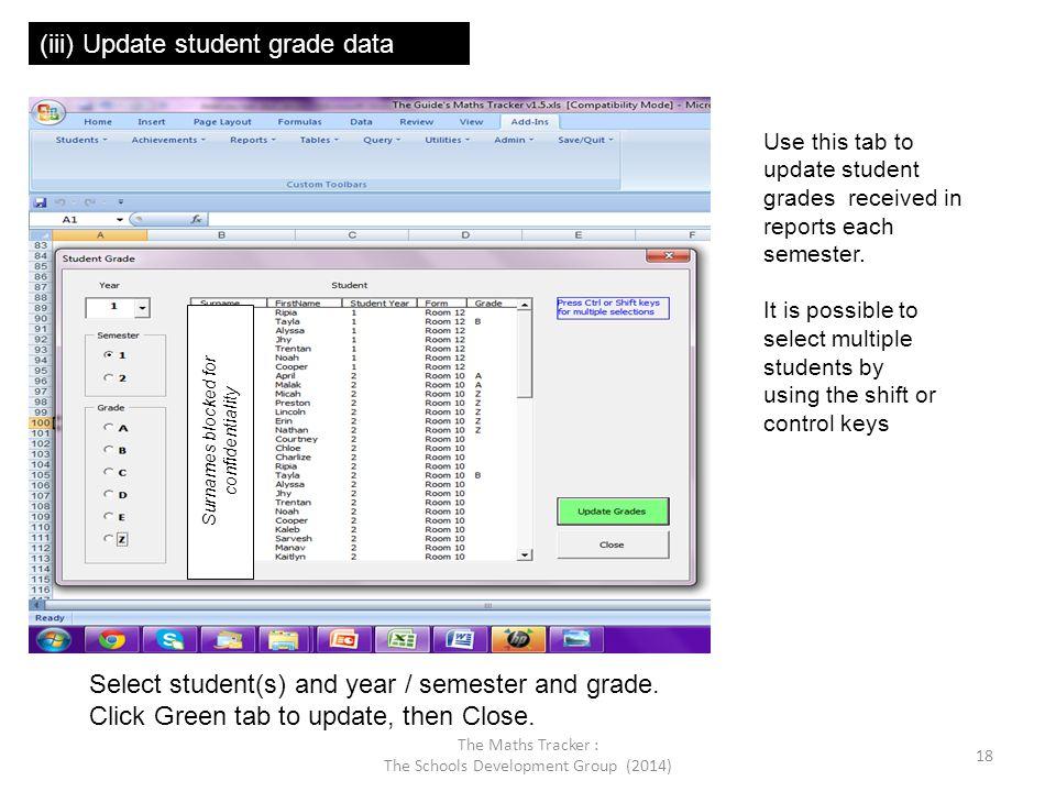 (iii) Update student grade data