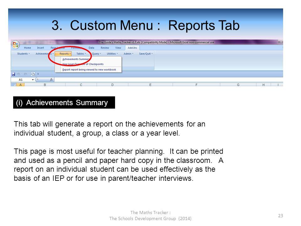 3. Custom Menu : Reports Tab