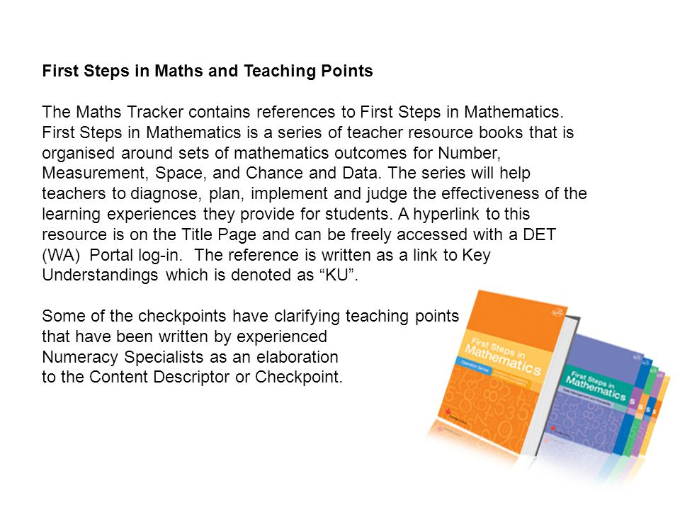 First Steps in Maths and Teaching Points