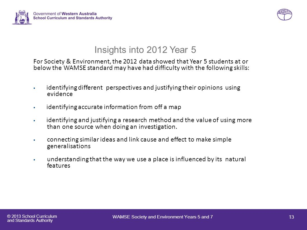 Insights into 2012 Year 5