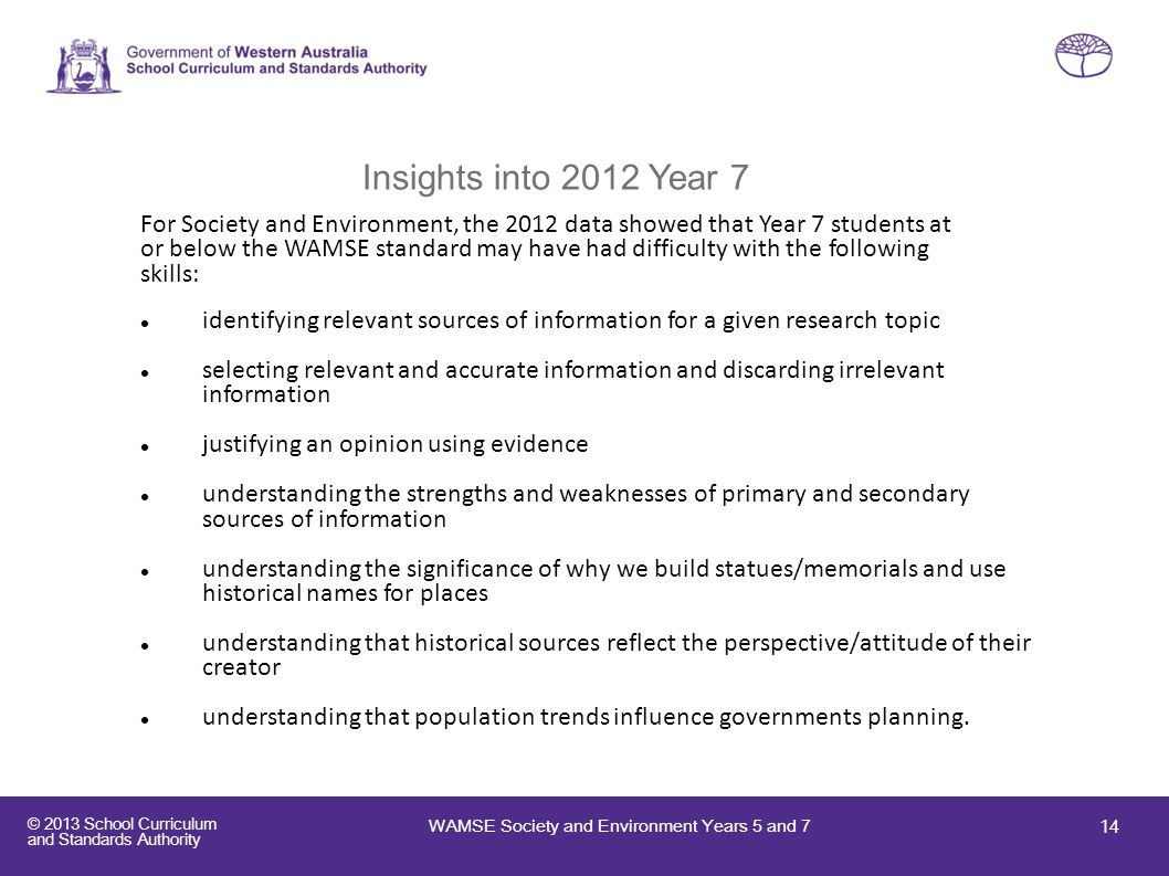 Insights into 2012 Year 7