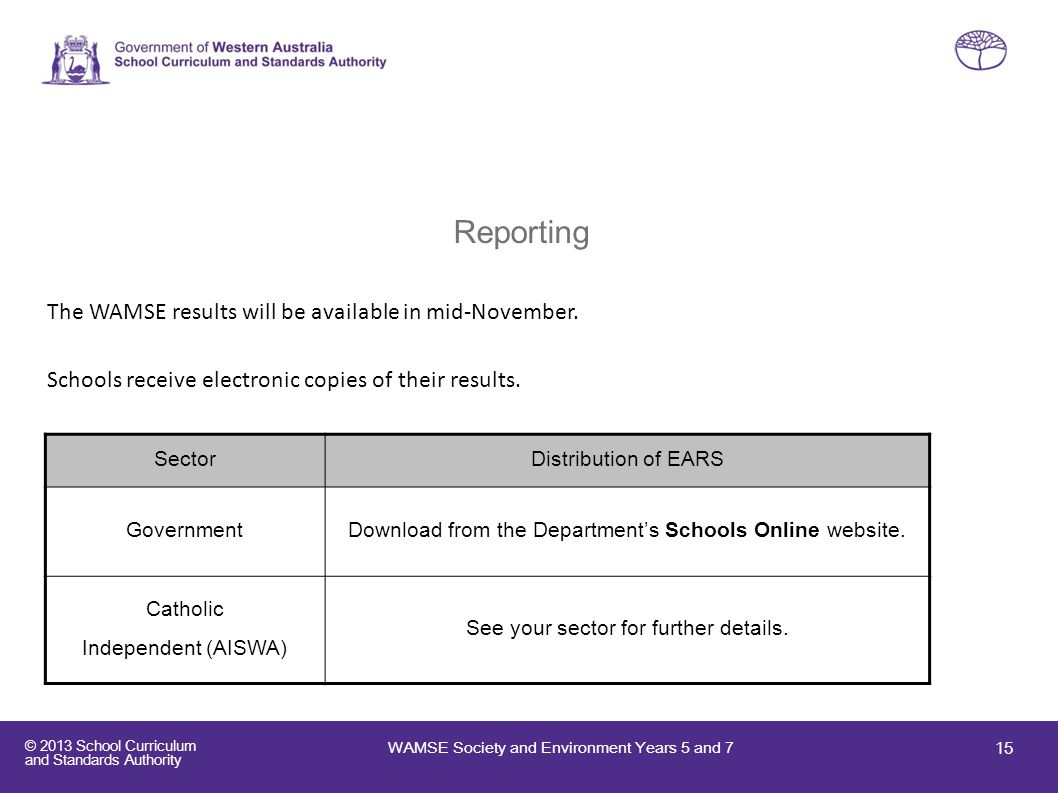 Reporting The WAMSE results will be available in mid-November.