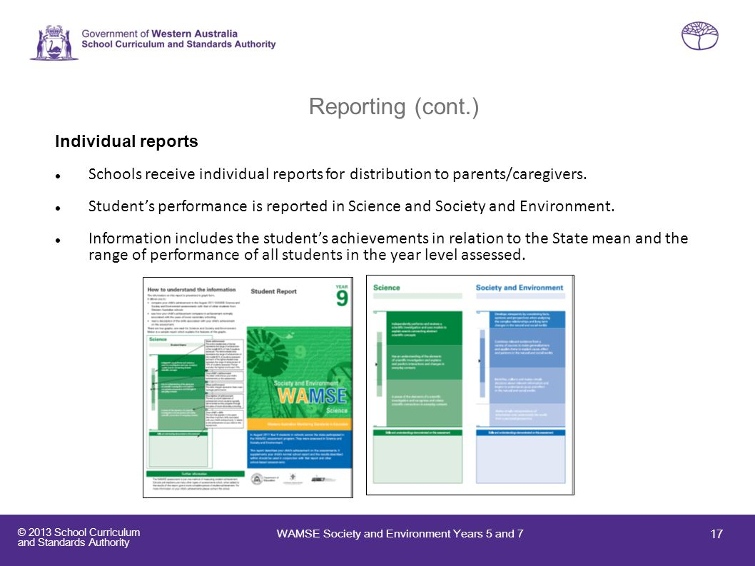 Reporting (cont.) Individual reports