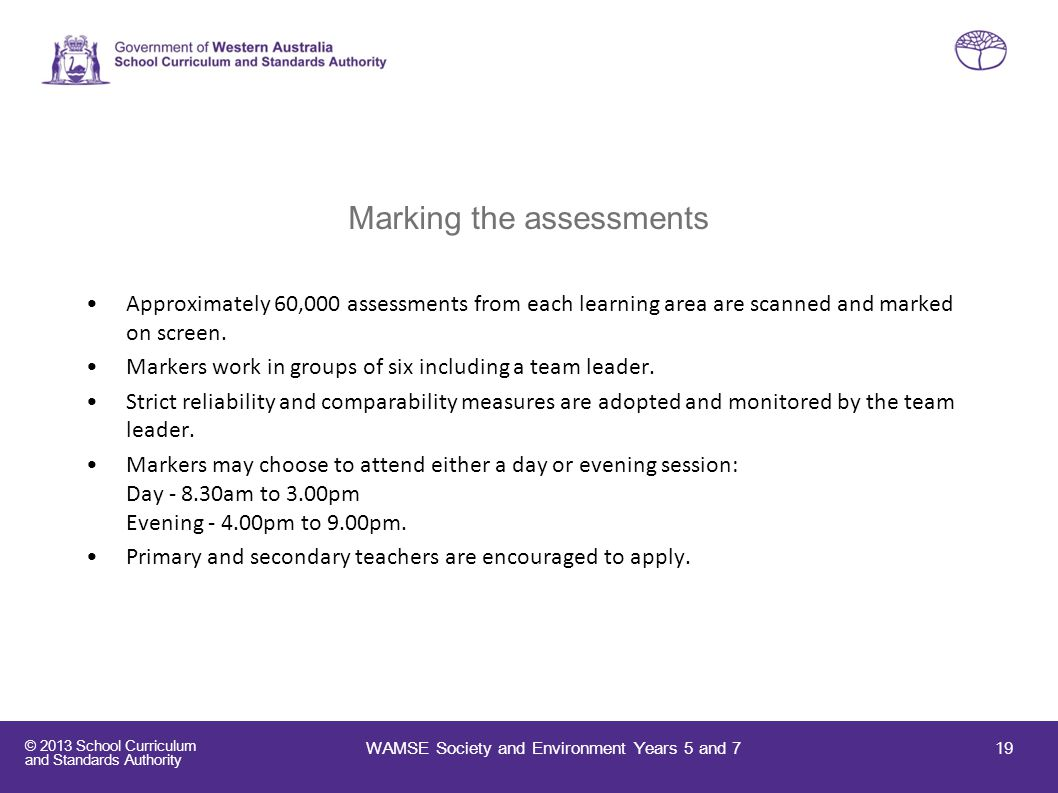 Marking the assessments