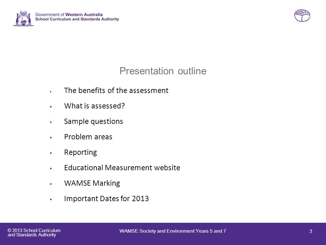 Presentation outline What is assessed Sample questions Problem areas