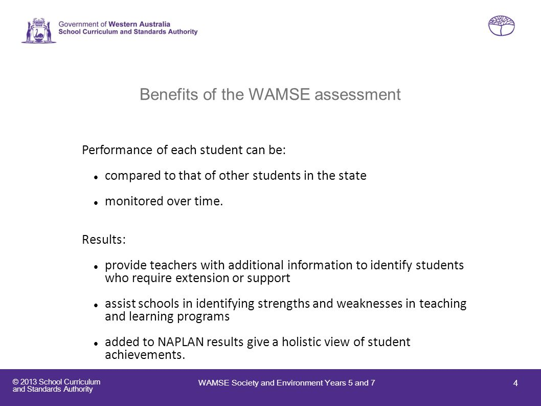 Benefits of the WAMSE assessment