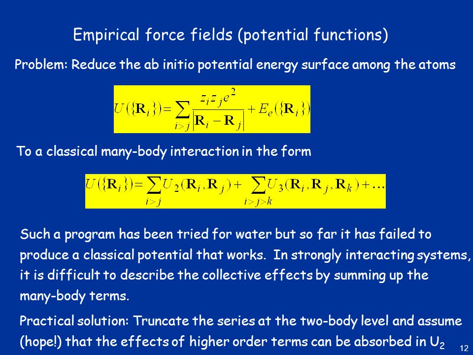 Empirical force fields (potential functions)