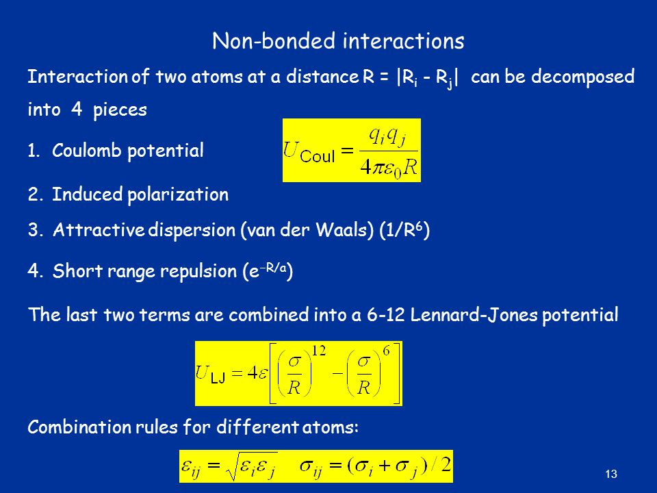 Non-bonded interactions
