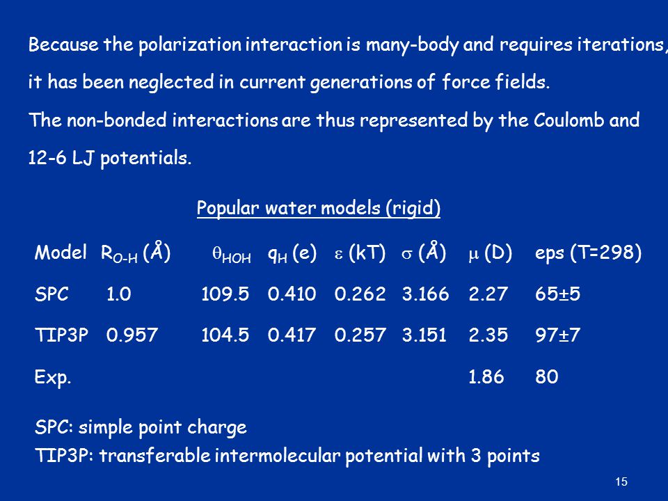 Because the polarization interaction is many-body and requires iterations,