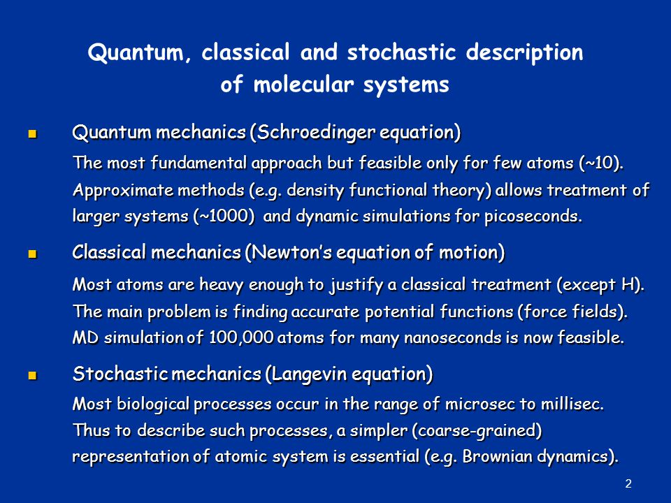 Quantum, classical and stochastic description of molecular systems