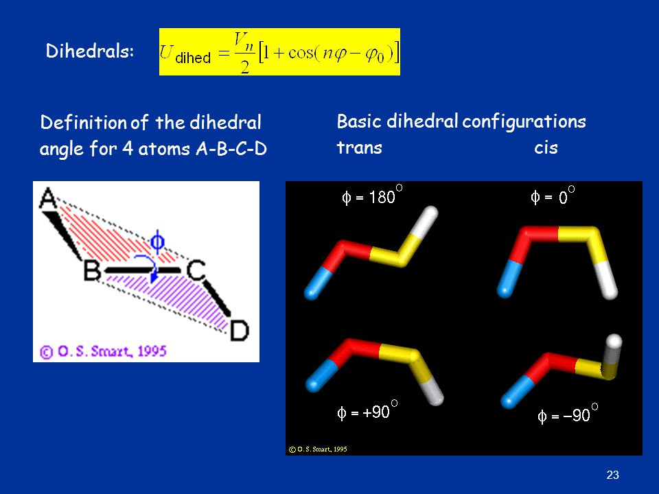 Dihedrals: Basic dihedral configurations. trans cis.