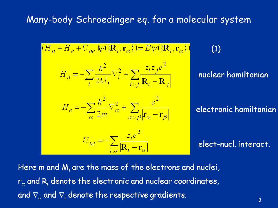 Many-body Schroedinger eq. for a molecular system