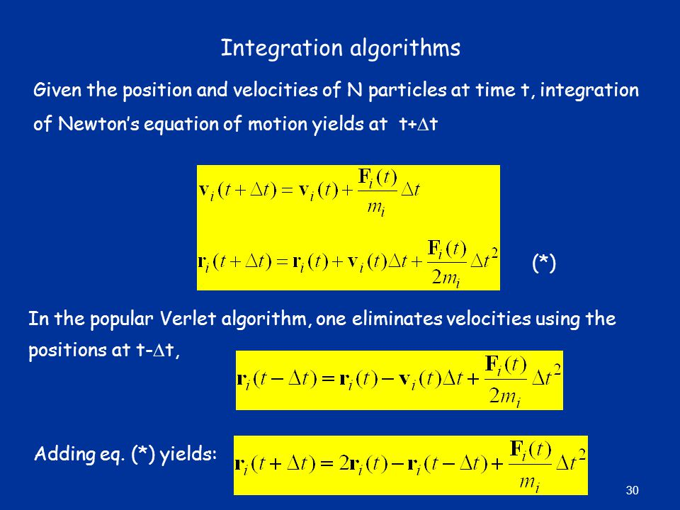 Integration algorithms