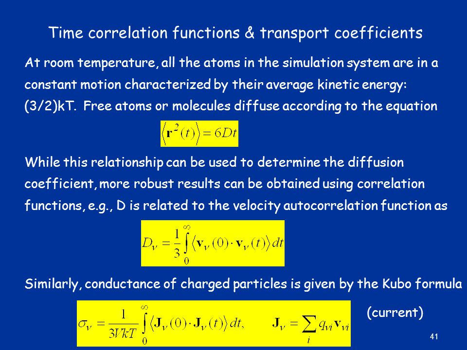 Time correlation functions & transport coefficients