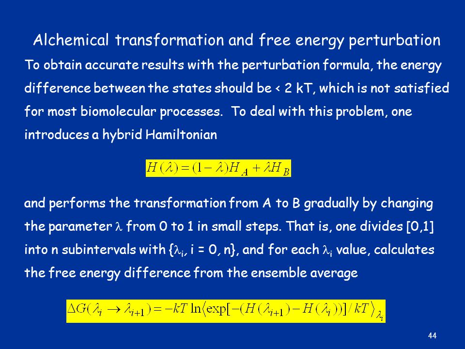 Alchemical transformation and free energy perturbation