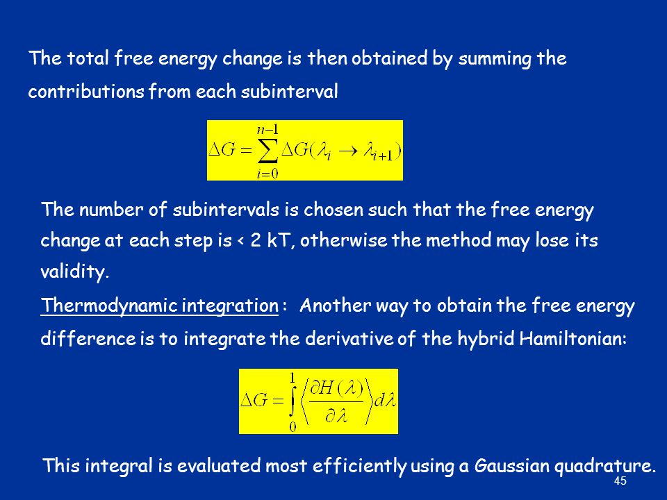 The total free energy change is then obtained by summing the contributions from each subinterval