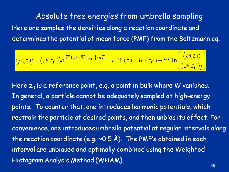Absolute free energies from umbrella sampling