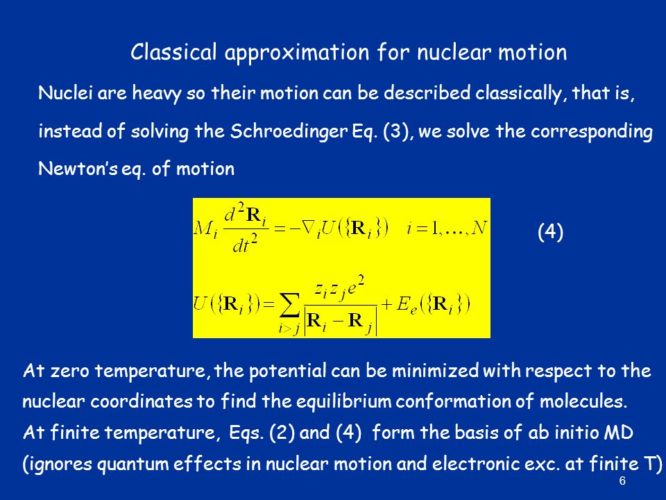Classical approximation for nuclear motion