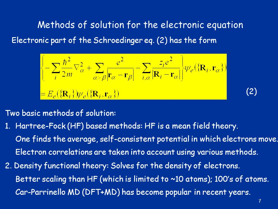Methods of solution for the electronic equation