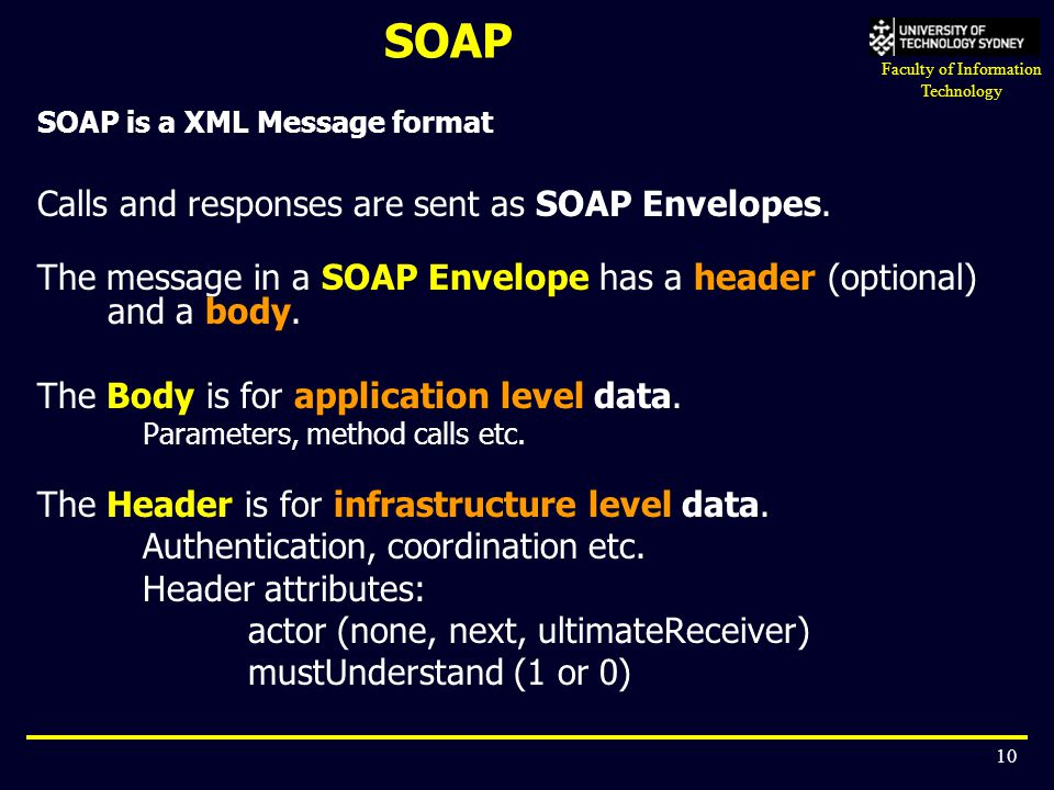 SOAP Calls and responses are sent as SOAP Envelopes.