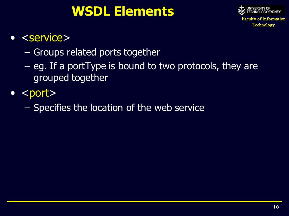 WSDL Elements <service> <port>