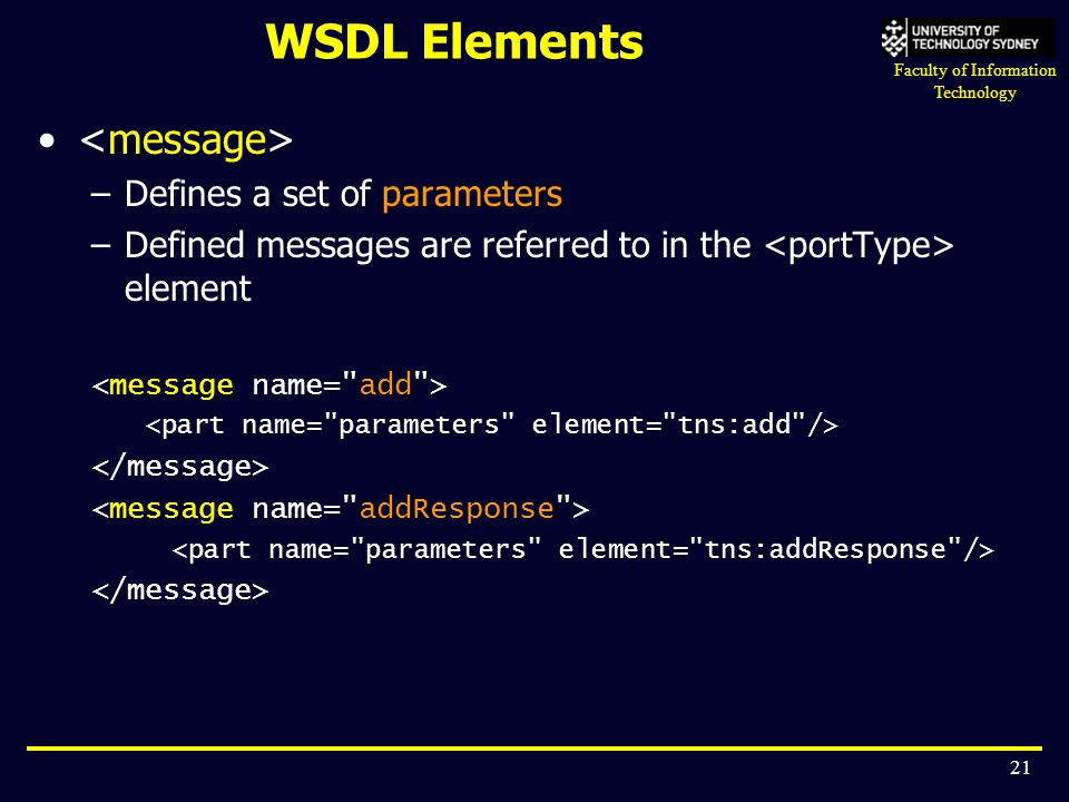 WSDL Elements <message> Defines a set of parameters
