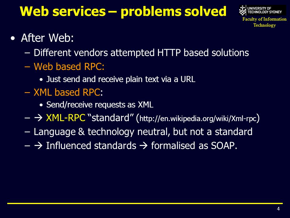 Web services – problems solved