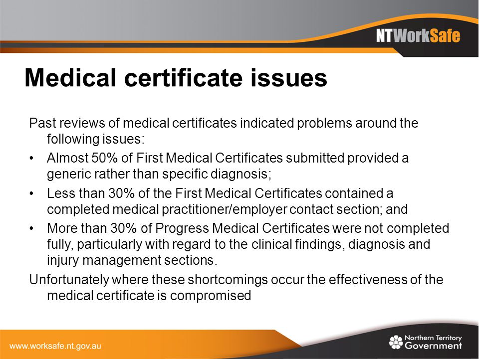 Medical certificate issues