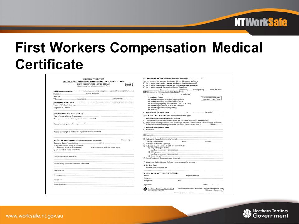 First Workers Compensation Medical Certificate