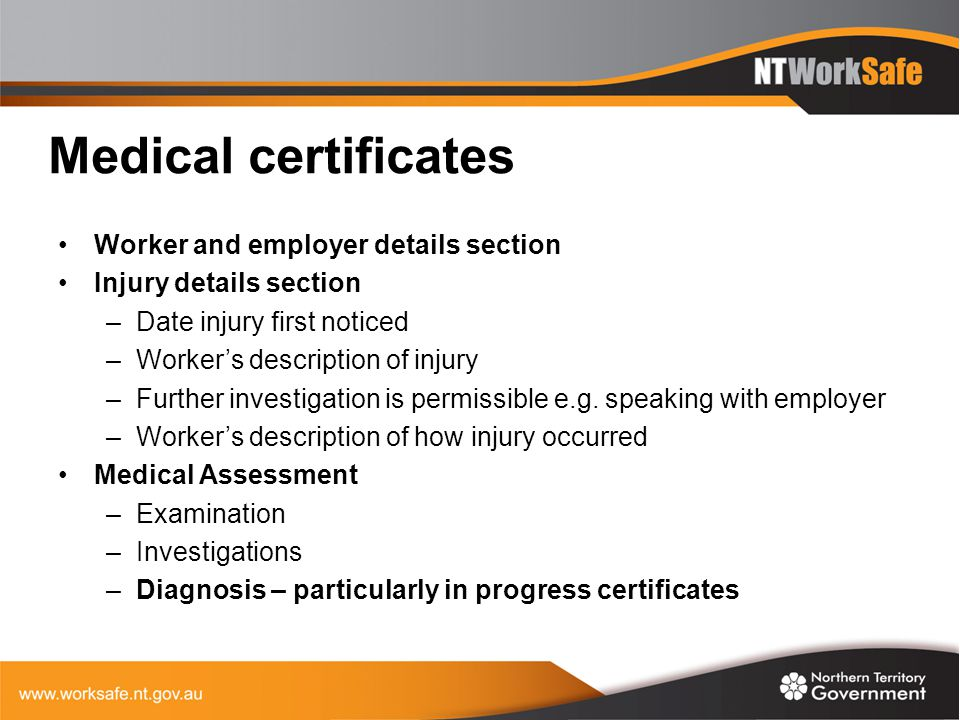 Medical certificates Worker and employer details section