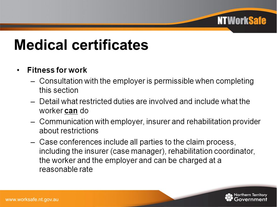 Medical certificates Fitness for work