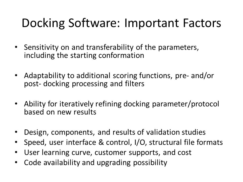Docking Software: Important Factors