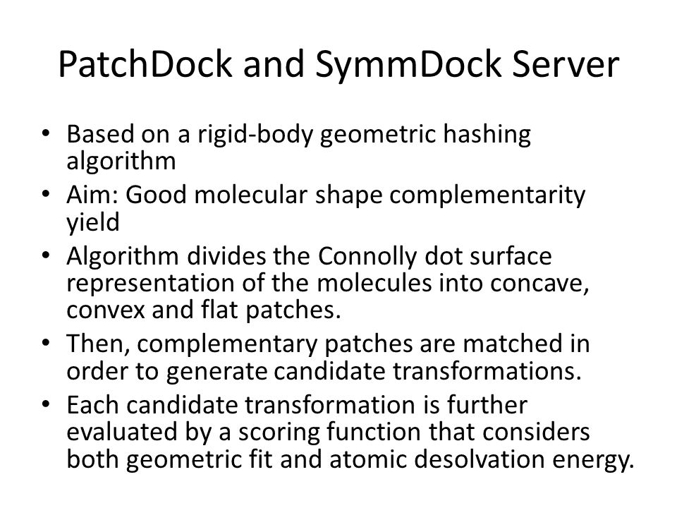 PatchDock and SymmDock Server