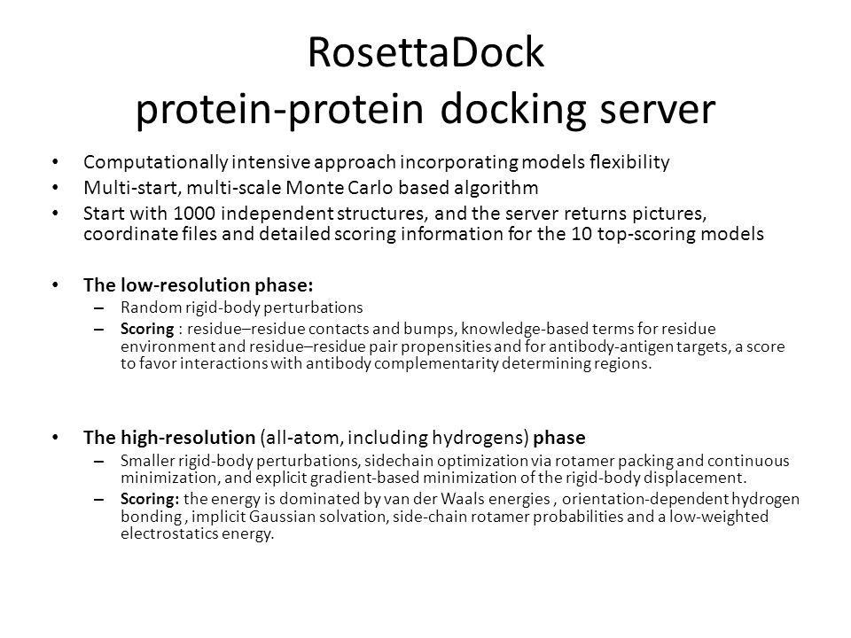 RosettaDock protein-protein docking server