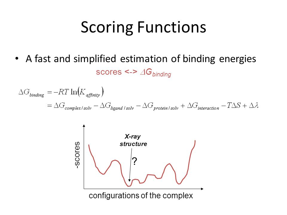 Scoring Functions A fast and simplified estimation of binding energies