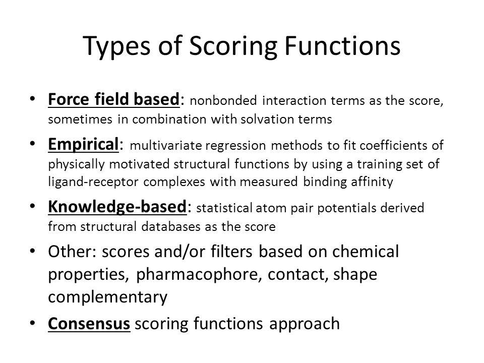 Types of Scoring Functions