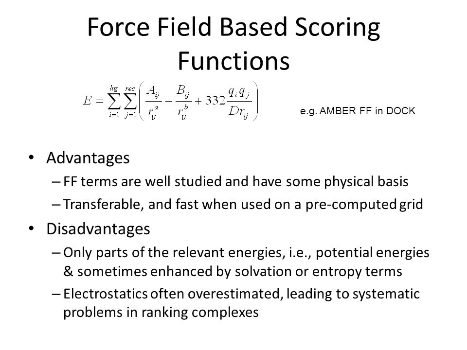Force Field Based Scoring Functions