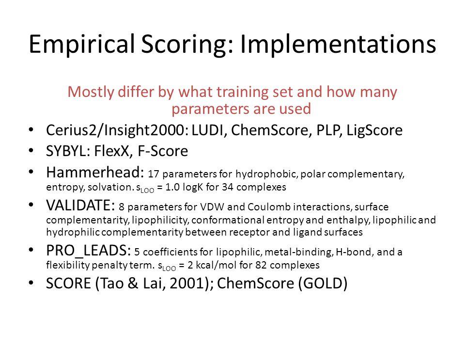 Empirical Scoring: Implementations