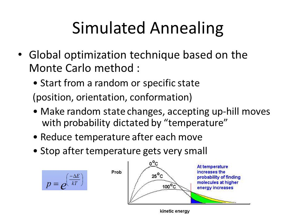 Simulated Annealing Global optimization technique based on the Monte Carlo method : • Start from a random or specific state.