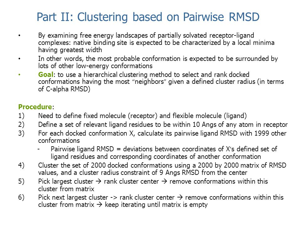 Part II: Clustering based on Pairwise RMSD