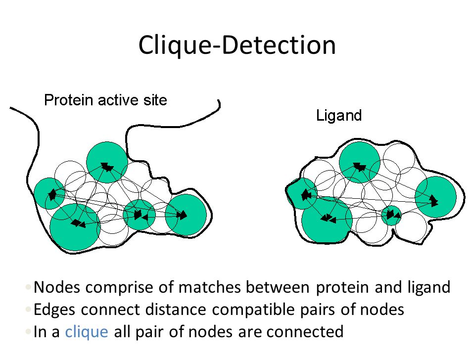 Clique-Detection Nodes comprise of matches between protein and ligand