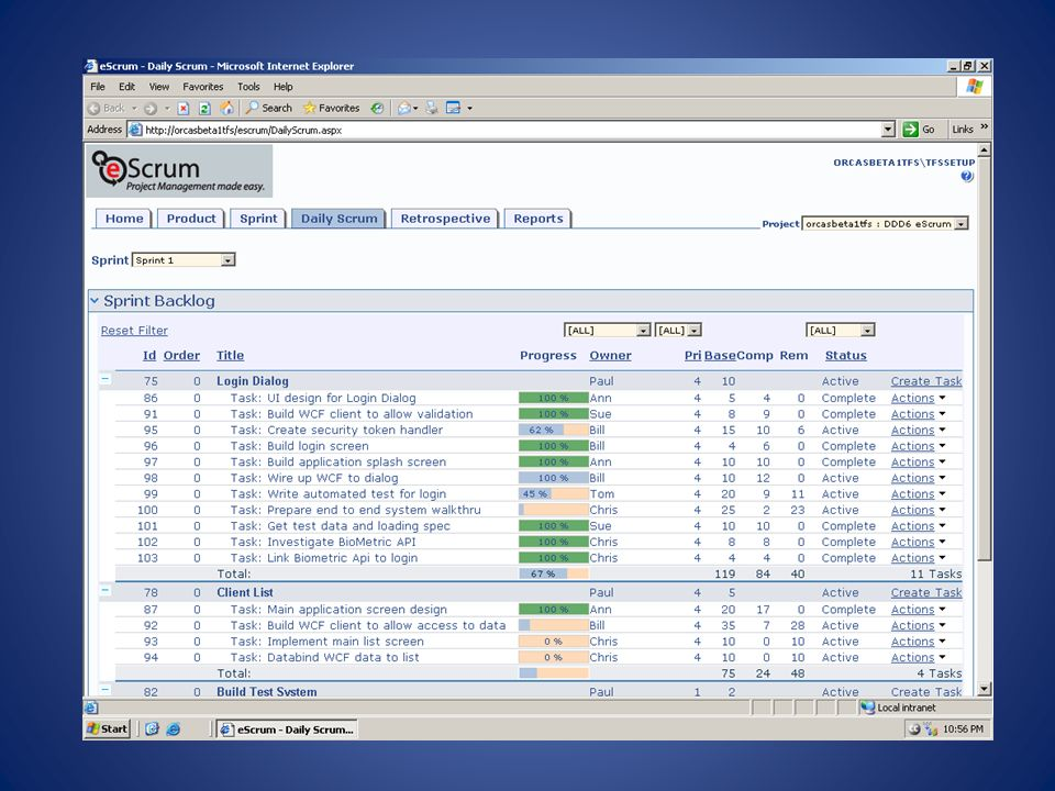 Screenshot from demo The daily scrum page, were tasks can be updated