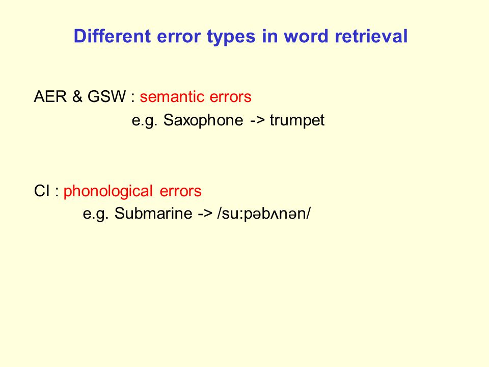 Different error types in word retrieval