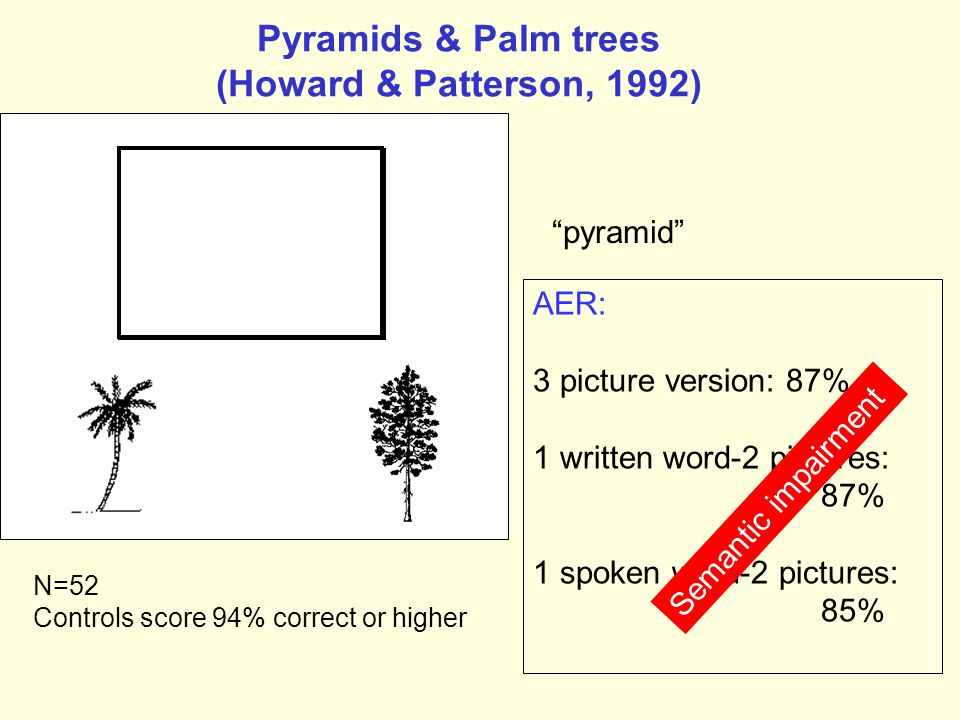 Pyramids & Palm trees (Howard & Patterson, 1992)