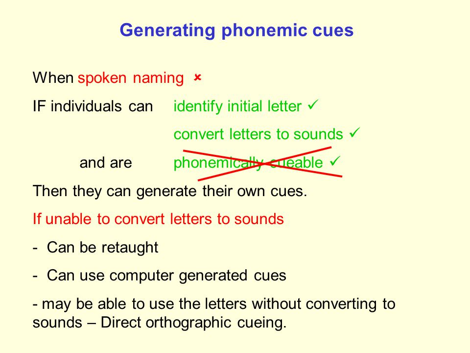 Generating phonemic cues