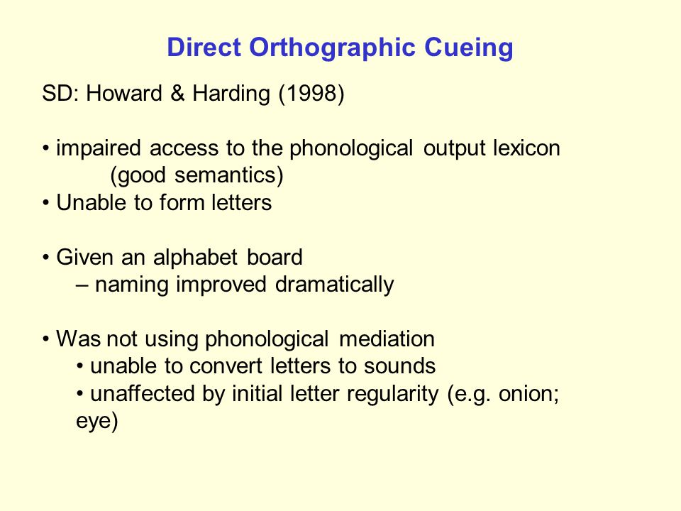 Direct Orthographic Cueing