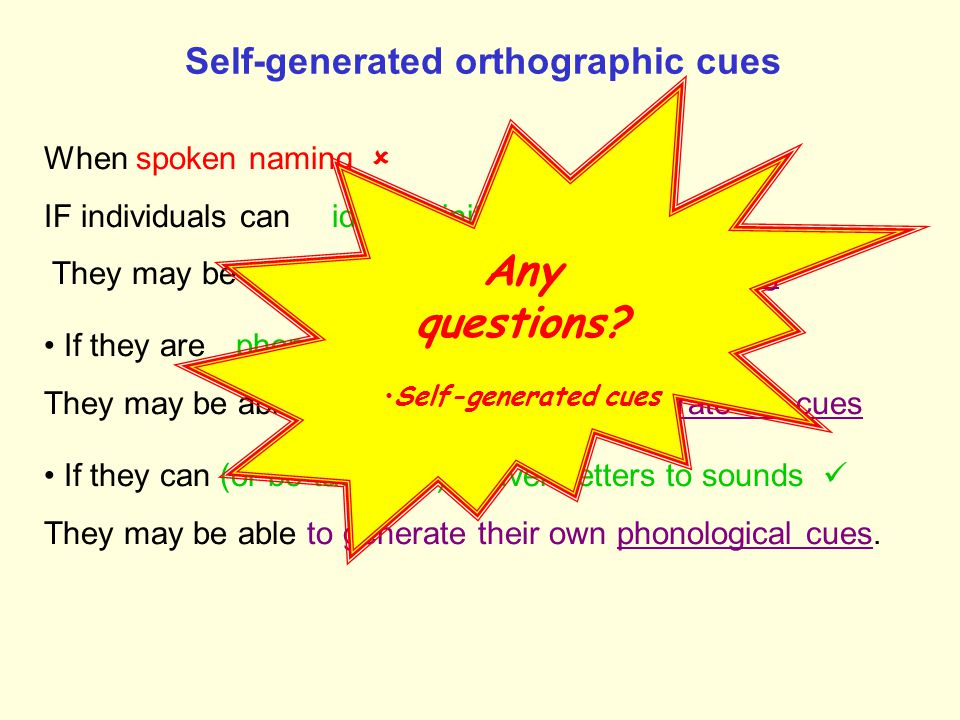 Self-generated orthographic cues