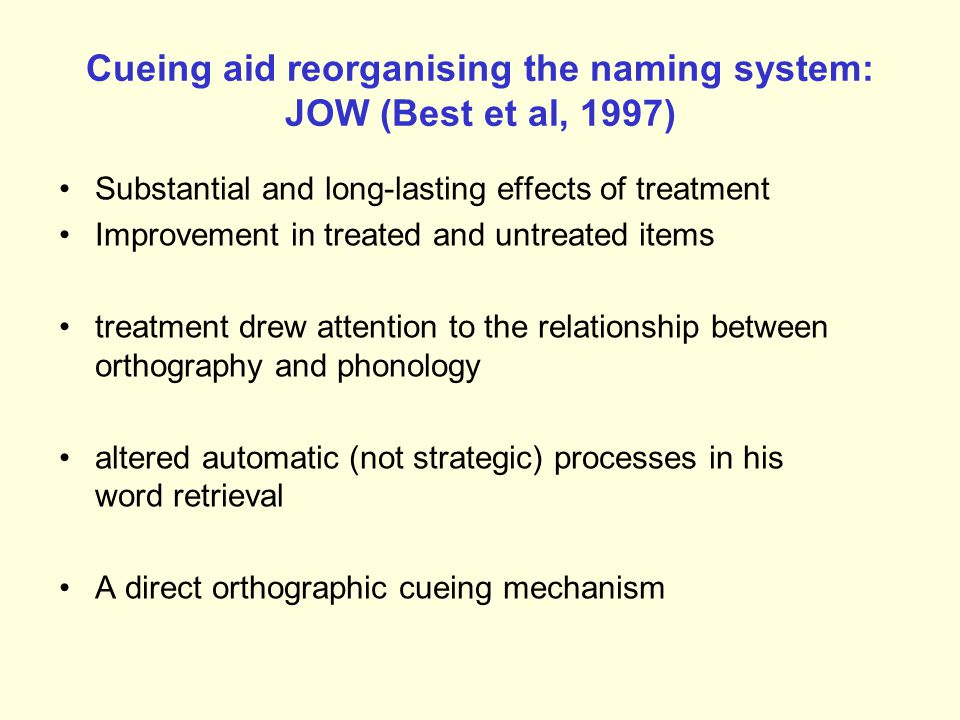 Cueing aid reorganising the naming system: JOW (Best et al, 1997)
